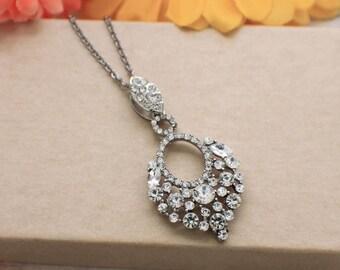 Rhinestone bridal necklace, simple wedding necklace, wedding accessories, rhinestone necklace, rhinestone jewelry, wedding bridal jewelry