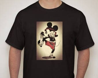 Adult and Kid's Mickey Mouse Muay Thai Fighter Black T-Shirt