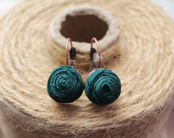 Fabric earrings Rose earrings Little aerrings Emerald textile earrings Fabric Flower earrings Floral jewelry Gift for her Small earrings