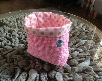 Quilted storage container or bag, plant pot holder
