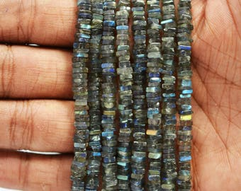AAA LABRADORITE Faceted HEISHI Cut Square Shape Beads 4-5mm / 16 inch