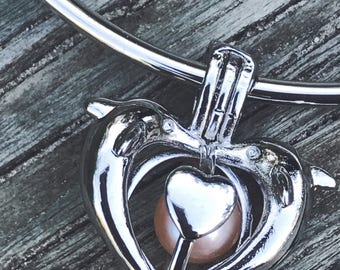 Silver Plated Dolphin Heart Pearl Cage Pendant