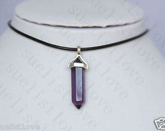 Purple Glass Choker Necklace Pendant with Genuine Leather Cord