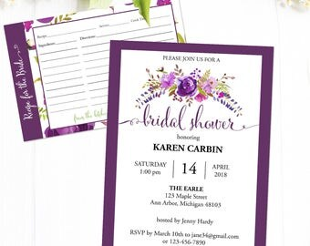 Bridal Shower Invitation, Bridal Shower Invites with recipe and advice card.  Shower Invitation Set,  Instant Download PDF Template #MCS-03s