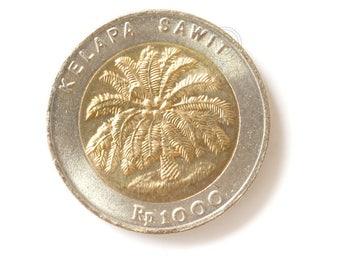 One Vintage Indonesian Coins 1000 Rupiah 1996, Indonesian old coin money, 100 Rupiah, Kelapa Sawit, Old Indonesian Rp1.000 Rupiah 1996