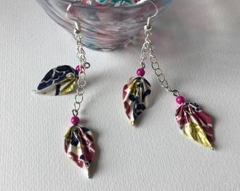 Jewelry ORIGAMI, ear, sheet, washi and ORIGAMI Jewelry earrings, Leaf Earrings