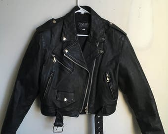 Vintage Cosa Nova black leather motorcycle jacket size small