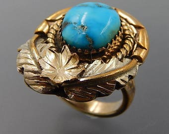 Navajo sterling silver mixed metals turquoise flower feathers ring size 5