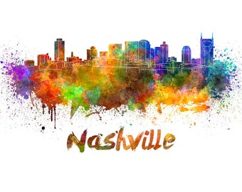 Nashville Skyline Watercolor, Music City, Nashville Skyline, Nashville Wall Art, Nashville watercolor ,Nashville Cityscape, Nashville art