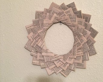 Book page wreath from dean koonts