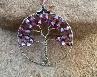 Purple Tree Pendant Necklace