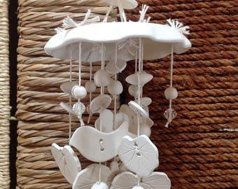 Wind Chime, White ceramic, Garden art, Home decor, Wedding Gift