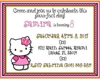 Hello Kitty Invitation, Hello Kitty Invite, Hello Kitty Birthday, Hello Kitty Party, Hello Kitty