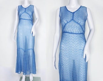 1930s Sheer Blue Broderie Anglaise Dress