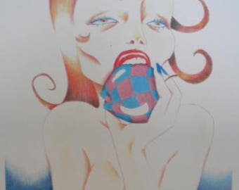 Strange Fruit print from original drawing Crayons Art Woman Surrealism Blue Red