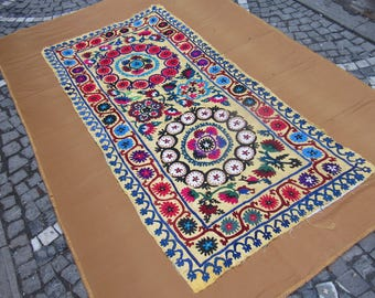 old suzani,table cover,wallhanging,badspread,handmade old textile,needle work suzani,traditional cover