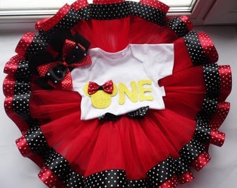 First birthday outfit girl , Mickey Mouse outfit , First birthday tutu set , Minnie Mouse outfit girls ,  Customize in Any Colors!