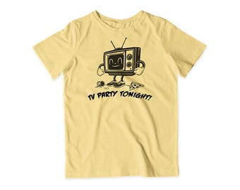 TV Party Screen Printed Tee (Butter)