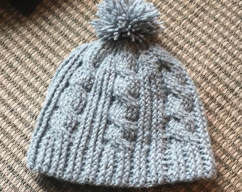 Cable knit womens hat