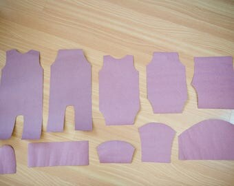 Precut templates for newborn rompers