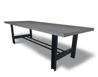 Solid Concrete H-Frame Conference/Dining Table - Chic industrial modern steel handmade