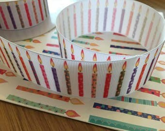 Grosgrain ribbon, candles, 39mm wide, by 1m length
