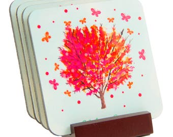 Welcome Spring Coaster Set - Great Hostess or House Warming Gift - FREE SHIPPING