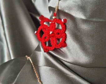 Bright red flower earrings with authentic red crystals
