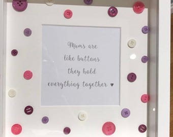 Special Offer - Mums Are Like Buttons Quote Box Frame *Last One* Mothers Day Gift