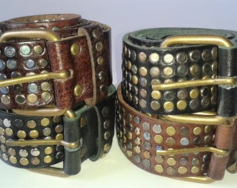 Genuine leather studded belt, Fashion belt, Metal studded belt