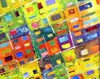 "Blocks 2, colorful abstract, acrylic skins, 16"" x 20"", ready-to-hang"