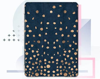 Gold Drops Smart Cover iPad Dark BlueCase iPad Mini Case iPad Gold Pro Case iPad Case Smart Cover iPad Pro 12.9 iPad Case iPad CMsc08