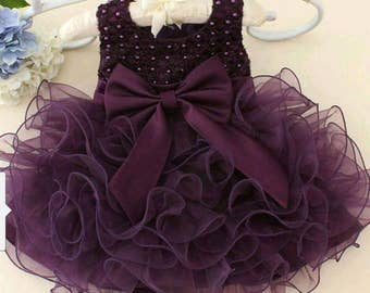 Plum bow dress