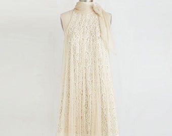 Vintage Dress Creme Colored Lace Bow