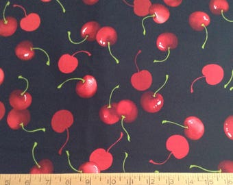 Cherries cotton fabric by the yard