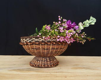 vintage wicker  basket | beaded pedestal basket | woven display basket | boho decor