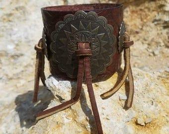 Fringe and Antiqued brass concho wide leather cuff