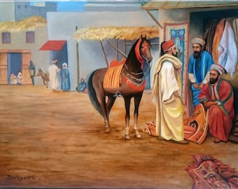 Bazaar horse Oil on Canvas handmaded, Oil Painting , Orientalism painting