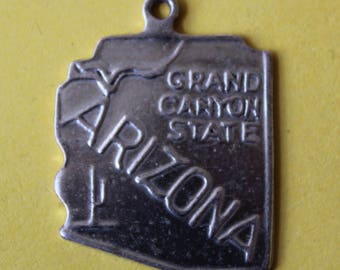 Vintage Sterling Silver Travel Map Charm of State of Arizona Grand Canyon State Cactus River