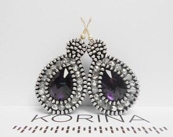 Zipper Earrings - Elegant Earrings - Zipper Jewelry - Glass Bead Jewelry