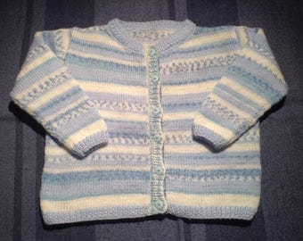 Blue vest to cast for 12 month old baby knitted hand
