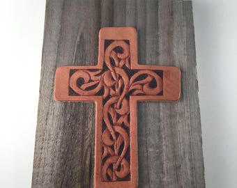 Hand Tooled Leather Cross Plaque