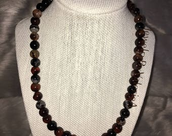 Earth Tone Glass Beaded Necklace