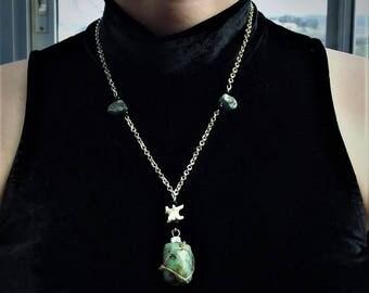 Snake vertebra & turquoise necklace