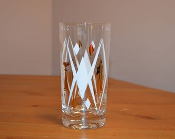 Vintage white & gold chess and diamond shapes tall drinking glass