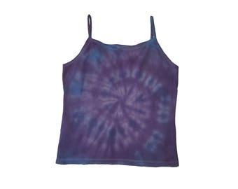 Purple Spiral Cotton Tie Dye Large Tank