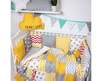 Crib Bumpers .Baby Bedding Bumper.Handmade Cradle Bumper.Cot Bumper.bed lien.