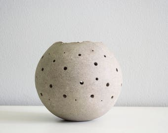 Studio pottery tea light ceramic candle holder round in gray.