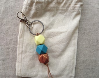 Buttercup - Silicone teething keyring on leather string