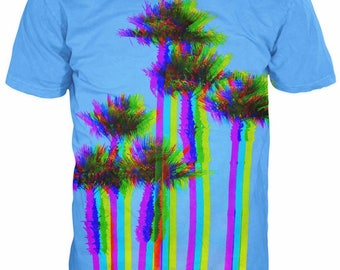 シ Vaporwave AESTHETIC 3D Palm Trees T-Shirt シ